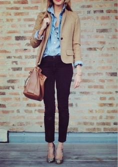 Black trousers, jeans and camel blazer
