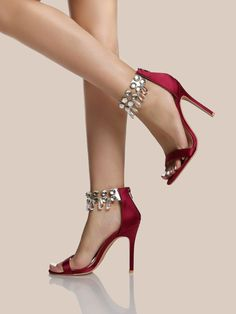 Online shopping for Diamond PVC Ankle Strap Heels WINE from a great selection of women's fashion clothing & more at MakeMeChic. Stilettos, Stiletto Heels, Fashion Heels, Red Fashion, Womens Fashion, Ankle Strap Heels, Ankle Straps, Red Heels, High Heels