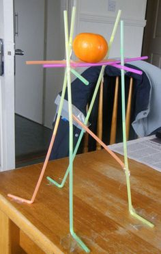 OLD SCHOOL WEEK/GO FOR THE GOLD/ STEM Straw Structure Design Samples.The Challenge is to build the tallest structure with 50 straws and a small roll of tape. The structure must be able to support a orange. Stem Science, Teaching Science, Science For Kids, Science And Technology, Steam Activities, Team Building Activities, Science Activities, Science Experiments, Physical Activities