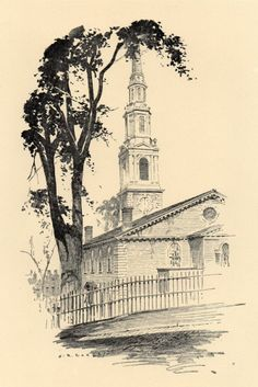 Original 1922 Print of First Baptist Meeting House in Providence Rhode Island