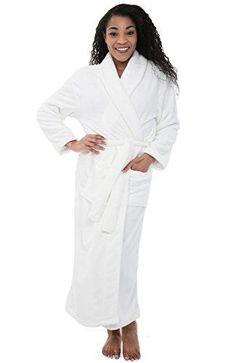 7e7d09dd10 Women s White Fleece Bathrobe 3XL 4XL Warm Thick Soft Long Luxury Spa Robe  XL  DelRossa  Robes