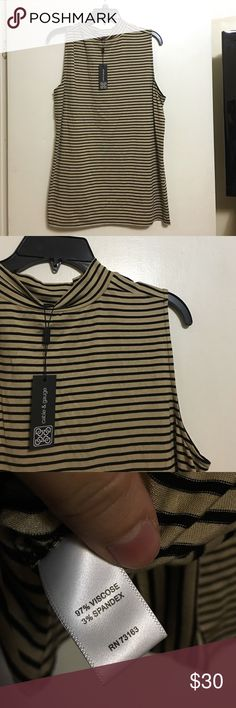 Stripped sleeveless faux turtle Super cute and stretchy. Tan and black stripes Cable & Gauge Tops Blouses