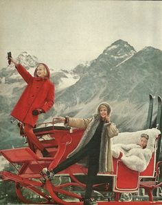 Ski wear fashion spread photographed in Switzerland for Mademoiselle Magazine, circa Ski Vintage, Vintage Ski Posters, Vintage Winter, Vintage Travel, I Love Winter, Winter Fun, Winter Is Coming, Kitsch, Mademoiselle Magazine
