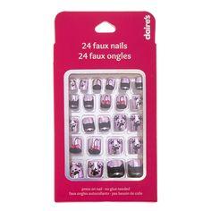 Kids Metallic Pink and Black Cat Motif Press On Faux Nails