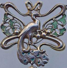 Art Nouveau - Collier au Paon - Argent et émail - Janvier Quercia