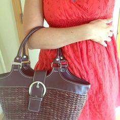 Unique Basket Handbag Brown woven basket handbag, great condition. This is a tote size basket. 9x13 in. . Bags