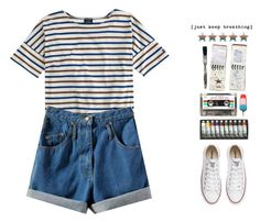 """""""I can feel your heart, I can touch your skin"""" by d-o-ll-y-h-a-z-e ❤ liked on Polyvore featuring Saint James, Converse, Anya Hindmarch, GUESS, set, 90s, child and nymphet"""