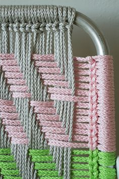 Woven Macramé Chair Tutorial by Lynda JonesWoven Macramé Chair Tutorial - my mom used to make these. Maybe Ada and I could try someday! Check out these beautiful diy Woven Macramé Chairs! Here's a detailed, step by step tutorial to make chairs that e Macrame Projects, Diy Projects, Project Ideas, Macrame Chairs, Lawn Chairs, Room Chairs, Lounge Chairs, Side Chairs, Macrame Patterns