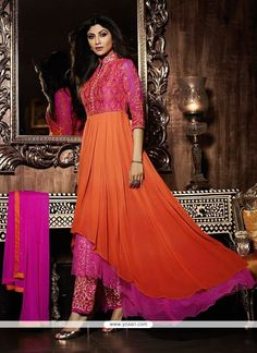 Shilpa Shetty Embroidered Work Georgette Anarkali Salwar Suit Model  YOS3660