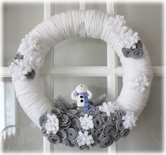 White and Gray Snowman Yarn Wreath