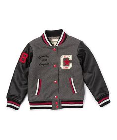 Look at this #zulilyfind! Charcoal Heavy-Weight Wool-Blend Varsity Jacket - Girls #zulilyfinds