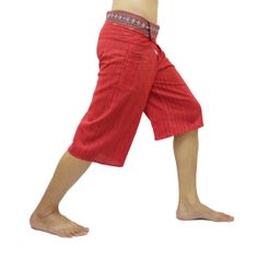 Red Thai Fisherman Pants Short 3/4 with Thai hand woven fabric on waist side, Wide Leg pants, Wrap pants, Unisex pants  $22.00 Free shipping