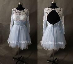 Blue High Low Long Sleeve Lace Cocktail Dress Short Prom Dresses Short Evening Dress Bridesmaid Dress
