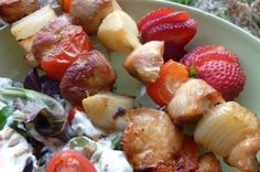 Gluten Free & Dairy Free Honey Chicken Kabobs | OAMC from Once A Month Mom
