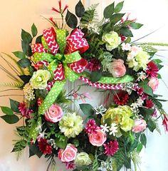 XL Spring Wreath Summer Wreath Front Door by MarysBluebirdWreaths