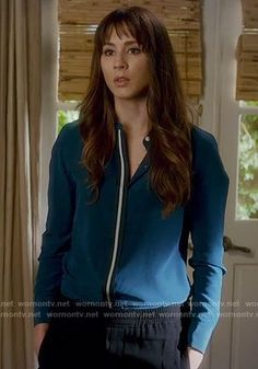 Spencer's teal shirt with white stripe on Pretty Little Liars.  Outfit Details: https://wornontv.net/70835/ #PLL