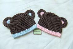 Crochet Baby Hats Twin Baby Hat  Crochet baby hat Set of 2  Twin Teddy by craf...