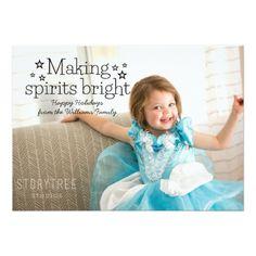 Black Making Spirits Bright Holiday Photo Card