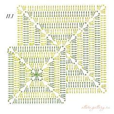 Transcendent Crochet a Solid Granny Square Ideas. Inconceivable Crochet a Solid Granny Square Ideas. Modern Crochet Patterns, Crochet Square Patterns, Crochet Diagram, Crochet Chart, Crochet Squares, Crochet Blanket Patterns, Crochet Granny, Baby Blanket Crochet, Crochet Motif