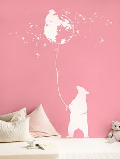White Bear - Pink wall  Wall decal for baby room #animal #stars #white decal #Amelia #etsy