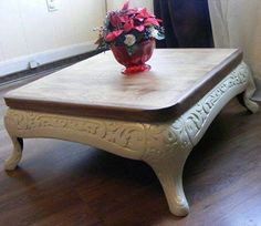 An old stove base converted to a coffee table