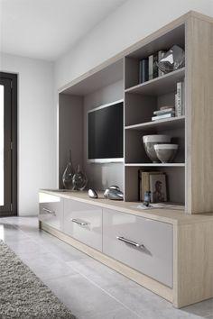 TV unit in high gloss Stone and Rough-Cut Oak