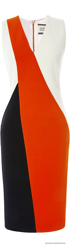 Fausto Puglisi ● Pre-Fall 2014, Color-Blocked Sheath Dress