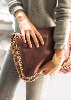 Burgundy Falabella Shoulder Bag-Stell McCartney