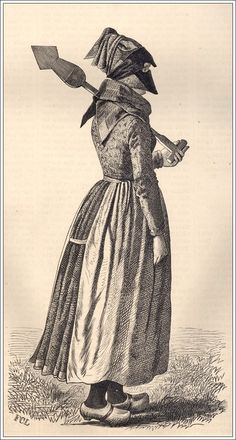 "A Danish woman in a ""strude,"" a face covering to protect from wind and sun. Illustration: C. Lund, from Illustreret Tidende Danish Culture, Kingdom Of Denmark, Danish Style, Folk Costume, Costumes, New Hobbies, Scandinavian Style, Traditional Dresses, Sun Illustration"