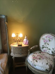 Antique cane bed with bedside and 18th century chair , bedroom
