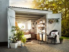 54 Trendy Backyard Shed Ideas Woman Cave Guest Houses Outdoor Rooms, Outdoor Living, Outdoor Decor, Outdoor Office, Indoor Outdoor, Ikea Outdoor, Outdoor Patios, Outdoor Sheds, Outdoor Kitchens