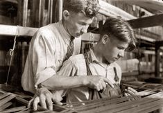 """1924. South Manchester, Connecticut. """"Cheney Silk Mills. Favorable working conditions."""" This picture, one of the last photographs Lewis Wickes Hine made over the span of some 16 years for the National Child Labor Committee, is among the relatively few he took using film."""