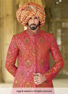 groom sherwani with turbon Wedding Dresses Men Indian, Wedding Men, Wedding Suits, Farm Wedding, Wedding Couples, Boho Wedding, Wedding Reception, Wedding Ideas, Wedding Sherwani