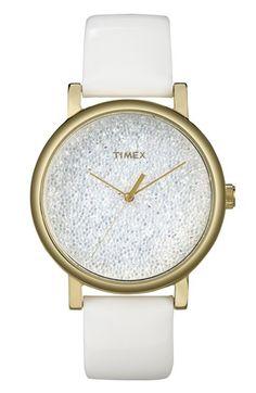 Timex® 'Crystal Sky' Pavé Dial Watch, 38mm
