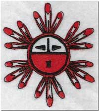 Kachina Sun Symbol ~ From the Hopi tribe, Kachinas are the spirits of the invisible life forces. They are supernatural beings who serve as divine messengers between people and gods. The Sun Kachina is a symbol of life, growth, strength of spirit, and abundance.