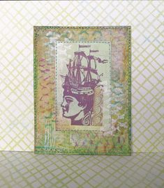 I printed and painted The background. I love to use sewing for added interest. Stamps by Lynn Perella.