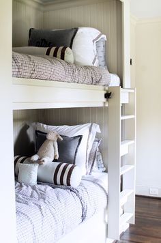 Suzie: Lucy and Company - Adorable built-in beadboard bunk beds, removable ladder, charcoal ...