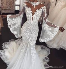 Oct 2019 - Crystal Design Bridal Capped Sleeve Jewel Neck Heavily Embroidered Bodice Detachable Skirt Sheath Wedding Dresses Low Back Long Train sold by Handmade Dress on Storenvy Wedding Dress Low Back, Lace Mermaid Wedding Dress, Sexy Wedding Dresses, Long Sleeve Wedding, Princess Wedding Dresses, Mermaid Dresses, Bridal Dresses, Wedding Gowns, Boho Wedding