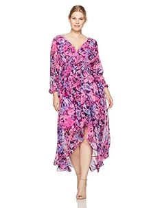 2f127453f29 Sangria Women s Plus Size Floral Long Sleeve Maxi Dress