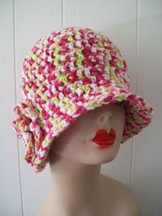 HANDMADE CROCHET CLOCHE  FLAPPER STYLE BEANIE HAT TULIPS  W/ FLOWER #Handmade #Cloche