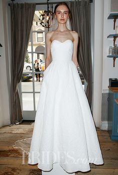 "Brides: Lela Rose - Spring 2016. ""Cobble Hill"" matelassé strapless A-line wedding dress with a sweetheart neckline, Lela Rose"
