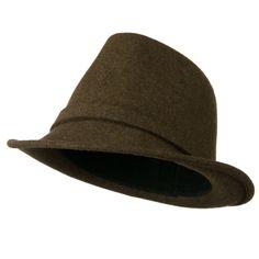 Women's Jewel Button Fedora Hat - Brown