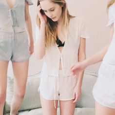 Brandy Melville Silky Set Brand new with tags off white creamy silk leesa top and lisette shirts. Brandy Melville Other
