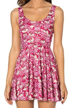 We're All Mad Here Scoop Skater Dress - LIMITED - Black Milk Clothing