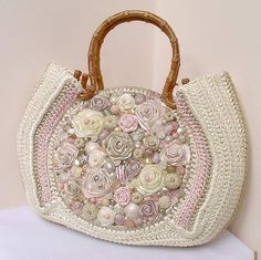 Crochet bag with satin ribbon embroidery - wedding gift?