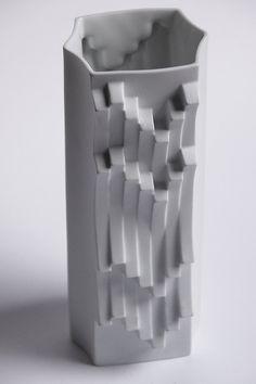 Mid Century White Bisque Op Art Vase by Heinrich by 1001vintage