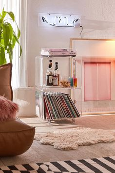 Shop Locklear Rolling Acrylic Cube Storage at Urban Outfitters today. We carry all the latest styles, colors and brands for you to choose from right here. Apartment Inspiration, Room Inspiration, Apartment Decor, Aesthetic Room Decor, Home, Cube Storage, Bedroom Design, Boho Living Room, Room