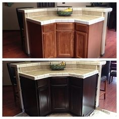 Gel Stained Cabinets in Espresso ,  Before and After