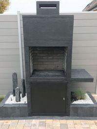 My Barbecue-Barbecue contemporain Impexfire pierre Patio Diy, Small Backyard Patio, Outdoor Pergola, Outdoor Kitchen Design, Patio Ideas, Barbecue Garden, Outdoor Barbeque, Grill Diy, Design Barbecue