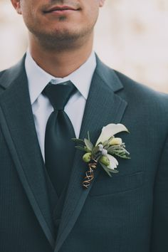 Green winter boutonniere with wire detail. Boutonnieres, Winter Boutonniere, Groom Boutonniere, Wedding Groom, Wedding Men, Wedding Suits, Wedding Attire, Dream Wedding, Floral Wedding